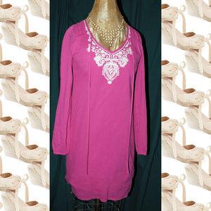 MICHAEL MICHAEL KORS Pink Linen Embroidered Dress